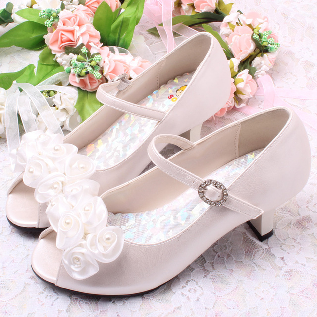 SLYXSH 3 Colors Good Quality Children White Flower Pearls Shoes Girls High Heel Sandals Kids Wedding