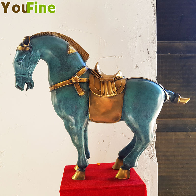 YOUFINE bronze Tang cheval statue décoration ornements maison chinoise bronze sculpture artisanat décoratif