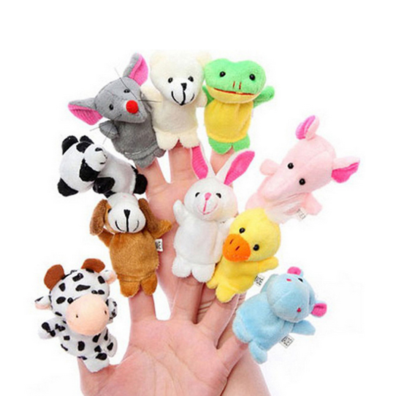 Finger Puppet Plush Toys Different Cartoon Animal Member Of Family Velvet Educational Hand Puppets Soft Dolls For Children Kids