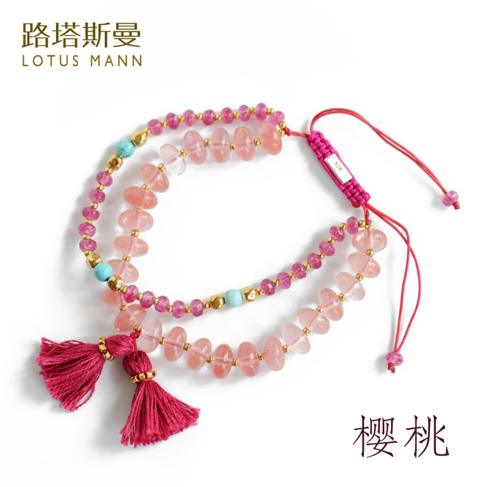 Lotus Mann Two laps weaving cherry crystal Dyed pink stone Kim tassel bracelet