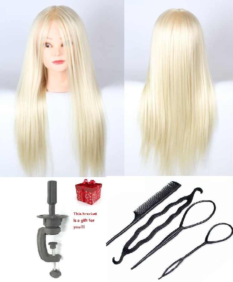 Женский манекен для волос CAMMITEVER, 20 дюймов, Золотой манекен с 4 подарками для практики, женский манекен