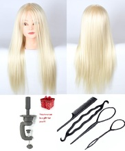 CAMMITEVER 20inch Golden Hair Mannequin Head With 4 Gifts for Practice Woman Styling Cosmetology Wig Display
