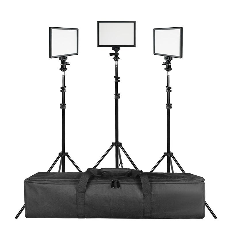 SUPON L122T 3 Sets LED Video Light Studio Light Photographic Lighting with Tripod 3200K/5600K Panel Lamps for Photo Youtube SUPON L122T 3 Sets LED Video Light Studio Light Photographic Lighting with Tripod 3200K/5600K Panel Lamps for Photo Youtube