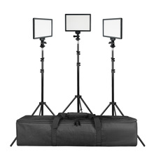 SUPON L122T 3 Sets LED Video Light Studio Light Photographic Lighting with Tripod 3200K/5600K Panel Lamps for Photo Youtube supon l122t 3 sets led video light studio light photographic lighting with tripod 3200k 5600k panel lamps for photo youtube