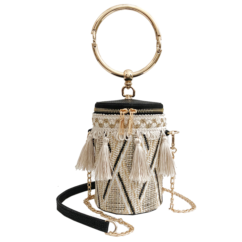 2018 Japan Style Women Bucket Cylindrical Straw Bags Tassel Wheat-straw Woven Women Crossbody Bags Shoulder Tote Bag Zipper 037