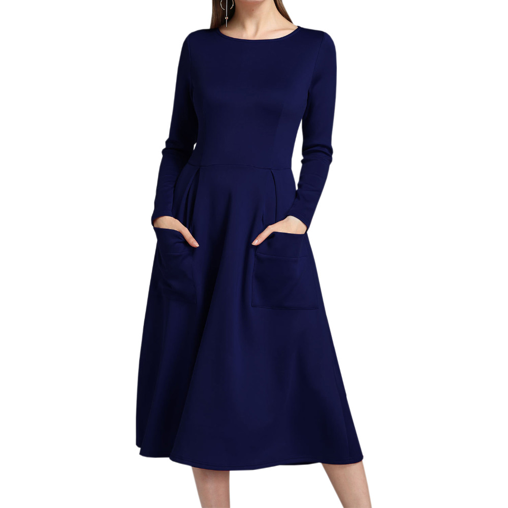 Long Sleeve Casual Dress Women Autumn Winter Dresses Solid Loose Office Vintage Fashion Dress Elegant Mujer Robe Pockets GV076