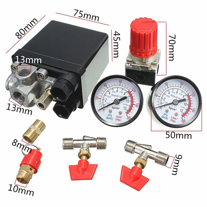 New Arrival Air Compressor Pressure Valve Switch Manifold Relief Regulator Gauges 180PSI 240V 45x75x80mm Promotion Price refrigeration tool manifold high pressure and low pressure double gauges valve with dosing tubes