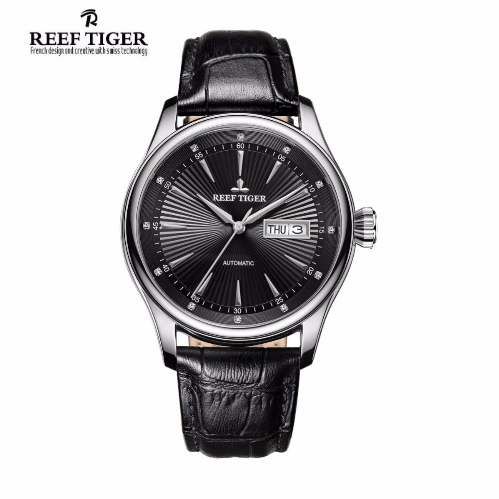 2017 Reef Tiger/RT Mens Dress Watch with Date Day Automatic 316L Steel Calfskin Strap Watches RGA8232 детский набор для развития памяти tiger every day c080 1 100