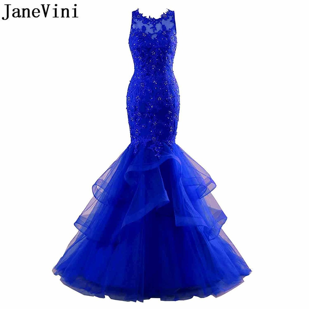 JaneVini Elegant Royal Blue Evening Dresses Long Beaded Lace Mermaid Plus Size Mother Of The Bride Dresses Arabic Formal Gown