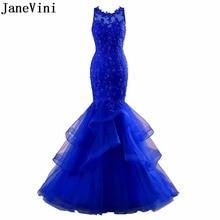 JaneVini Elegant Royal Blue Evening Dresses Long Beaded Lace Mermaid Plus Size