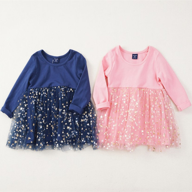 Girls Dress Autumn Fashion Baby Girls Sequin Stars Dress Long Sleeve  Princess Cotton Warm Dress Girls Sequin Dress D0311 7efbc996a3cc