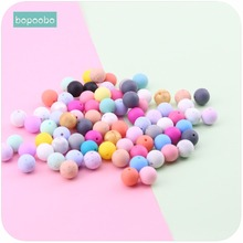 Bopoobo Baby Care Teether Silicone Beads 15mm 10pc Food Grade Materials DIY Bracelet Crib Toy Nursing Accessories Baby Teether