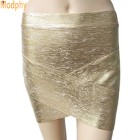 2015 Women Sexy Gold Silver Foil Reverse V Celebrity Bandage Skirts Rayon Stretch Mini Tight Pencil