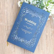 20pcs/lot New Navy Blue Laser Cut Floral Pattern Wedding Invitation Card Two Fold Blank Inside Page Invitations