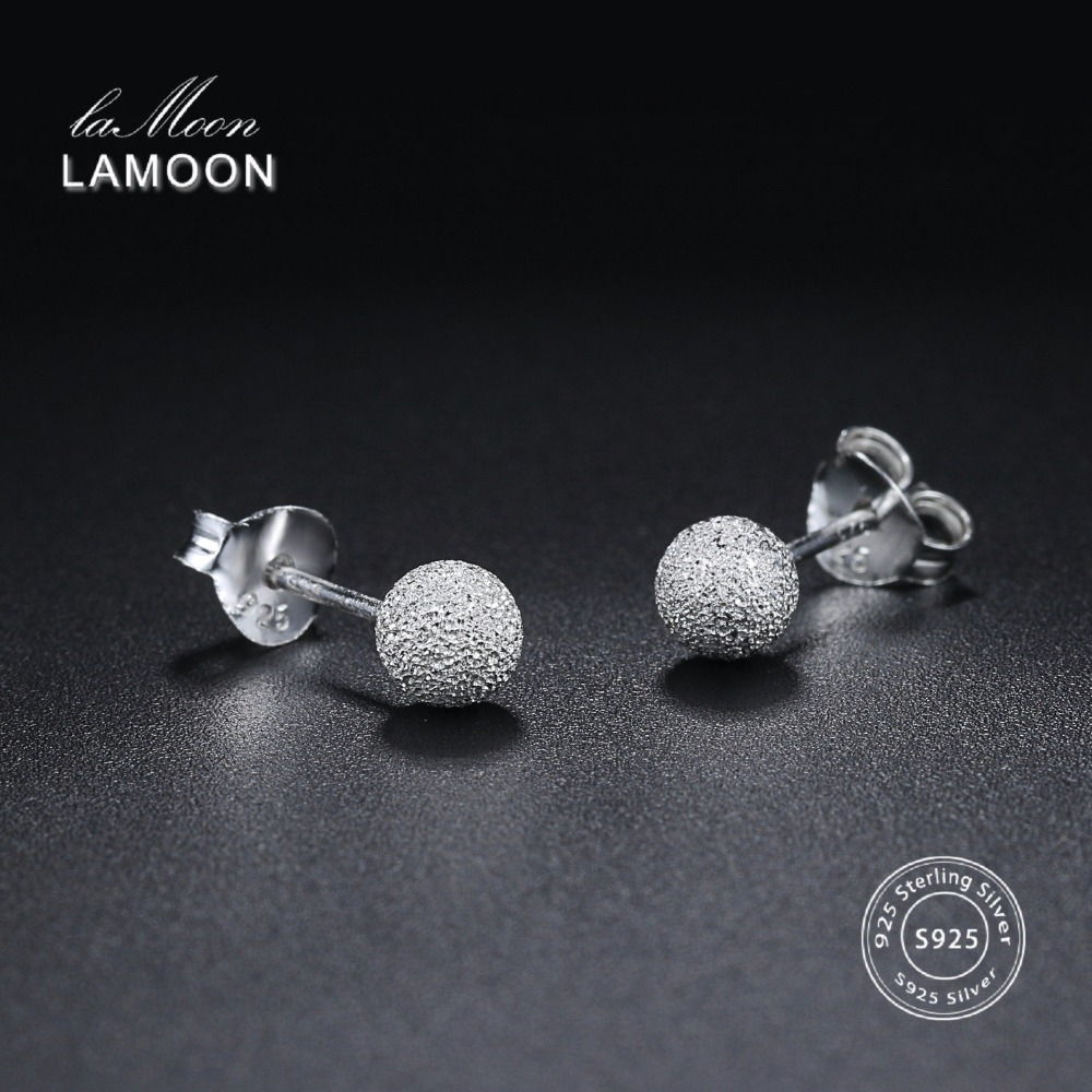 LAMOON 2018 New Ball Shaped 100% Real 925-Sterling-Silver Stud Earrings  Fine Jewelry For Women Girl Gift LMEY233 LMEY234 LM235LAMOON 2018 New Ball Shaped 100% Real 925-Sterling-Silver Stud Earrings  Fine Jewelry For Women Girl Gift LMEY233 LMEY234 LM235