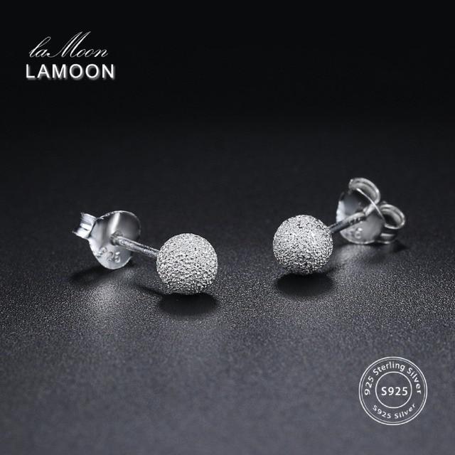 LAMOON 2018 New Ball Shaped 100% Real 925-Sterling-Silver Stud Earrings Fine Jew