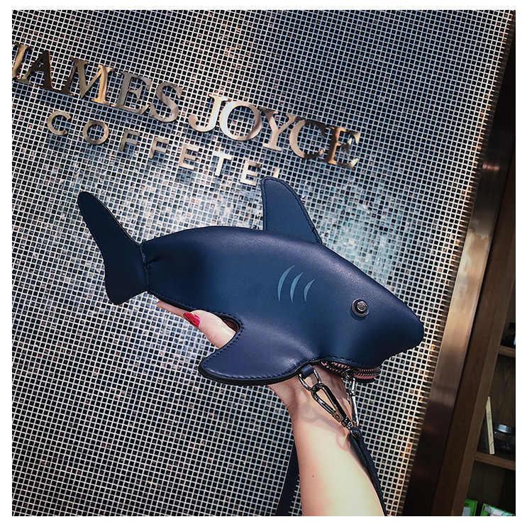 Nova Criativa Dos Desenhos Animados Tubarão Bolsas Mulheres Animais Peixe Engraçado Saco Do Mensageiro Com Painéis Ombro Sacos Crossbody Menina Baleia Golfinho