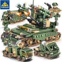 KAZI Military Field Army Building Blocks Toy Bricks Armored Car Tank Heads Educational Toys for Children Birthday Gift 84056