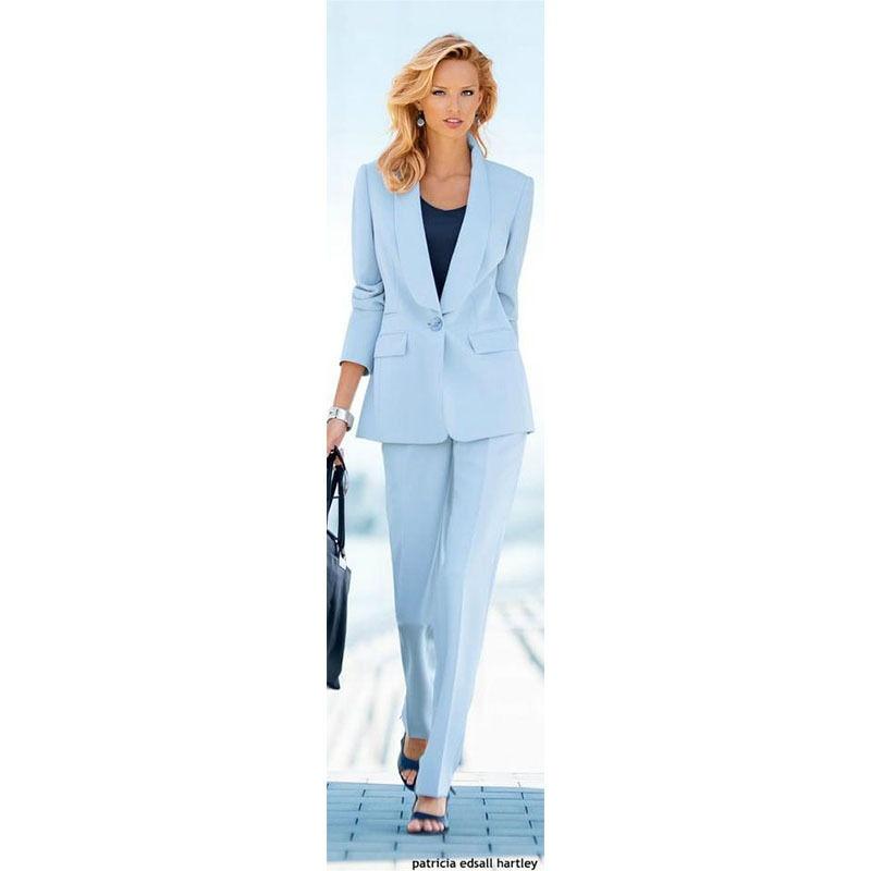 Light Blue Ladies Office Uniform Pants Suits For Women