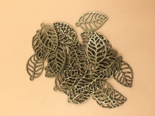 Bronze Tone 3D Leaf Charms Pendants Craft DIY 35x10mm 30pcs per lot (T510) 2015 New Free Shipping