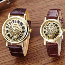 Fashion Classic Women Men Lovers Watches Hollow Skeleton Mechanical Couple Wrist Watch Leather Strap Gold Dial Clock  Jun20