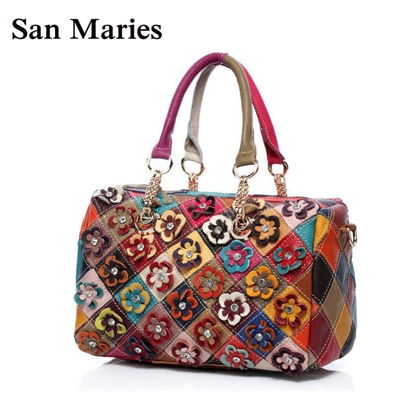 San Maries Elegant 100 Genuine Cow Leather Fashion Flower Boston Pillow Bag Chains Patchwork Designer Handbags