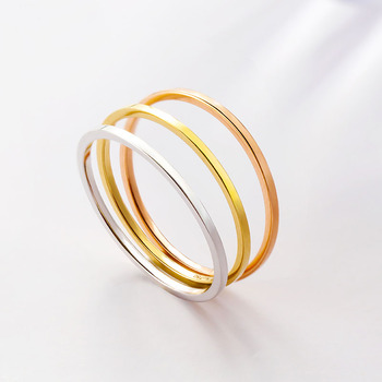 New Solid AU750 Gold Ring Band Smooth Lady's Little finger Ring