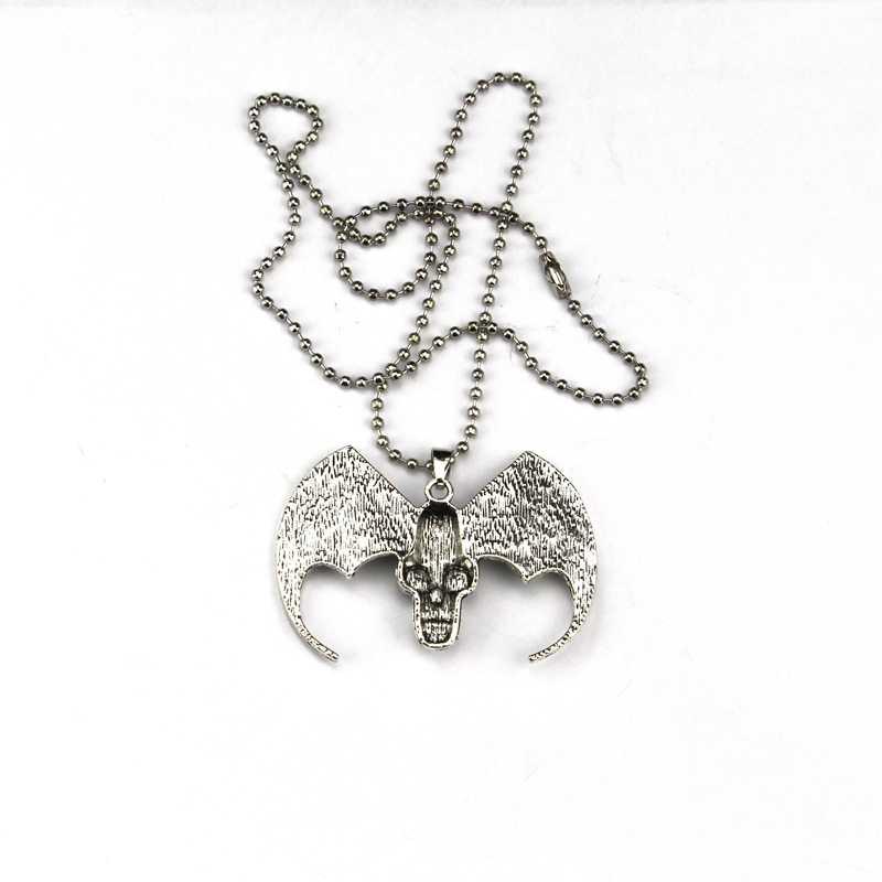 Gorąca sprzedaż ze stali nierdzewnej w stylu Vintage moda Punk czaszka Angel Wings diabeł krzyż wisiorki Zombie szkielet naszyjnik dla człowieka biżuteria prezent