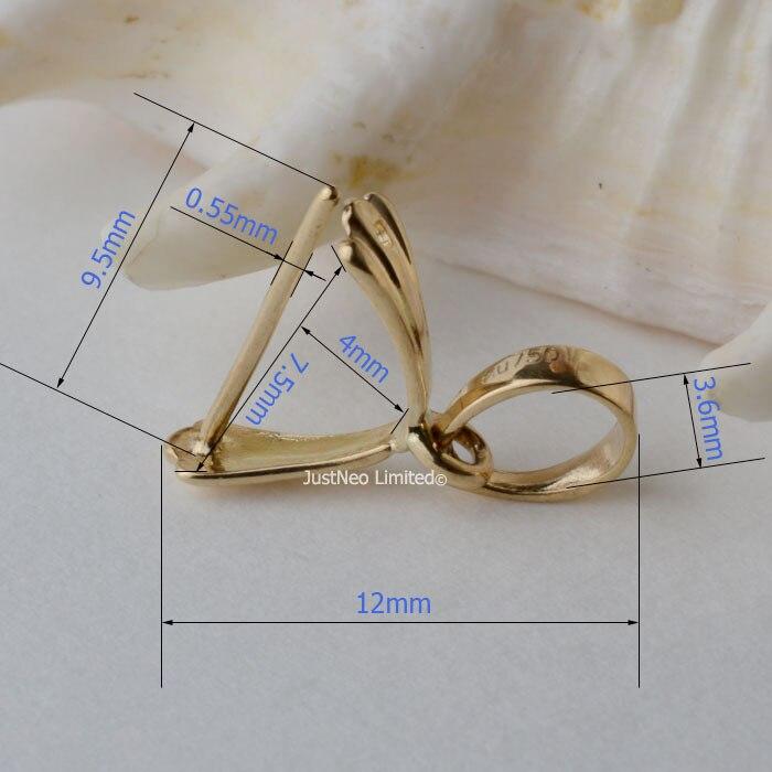 12mm 18 carats or jaune pince bail pendentif fermoir connecteur, pin style pendentif receveur passer par up 3.6mm collier corde - 6