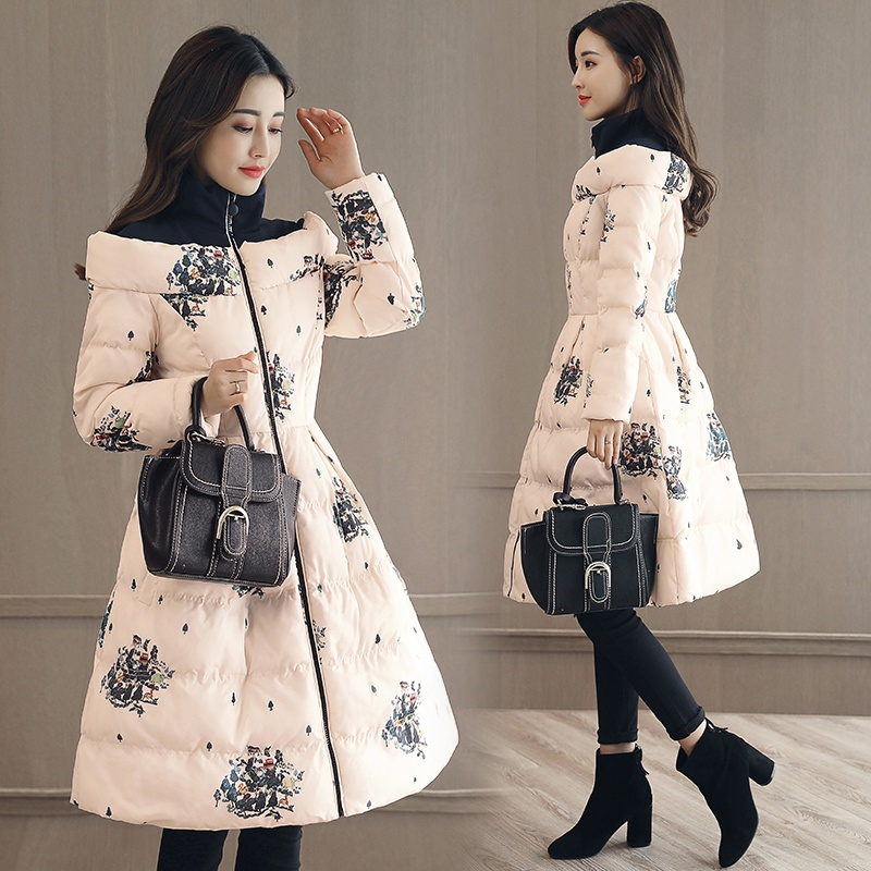 HANZANGL Winter Fashion Women Coats Medium-long Cotton-padded Jacket Thick Warm Print Down Jacket Feminino   Parka   Overcoat
