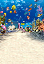 5x7ft  Vinyl wrinkle aquarium world Photo Backdrop for newborn kids' Birthday Photography Background studio Customized vinyl photography backdrop vintage photo studio photographic background flower wall floral newborns kids background 5x7ft f1913