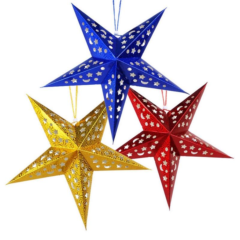 1PC 30cm-45cm-60cm glänsande stjärna Papper lampskärm lykta blomma - Semester och fester - Foto 2