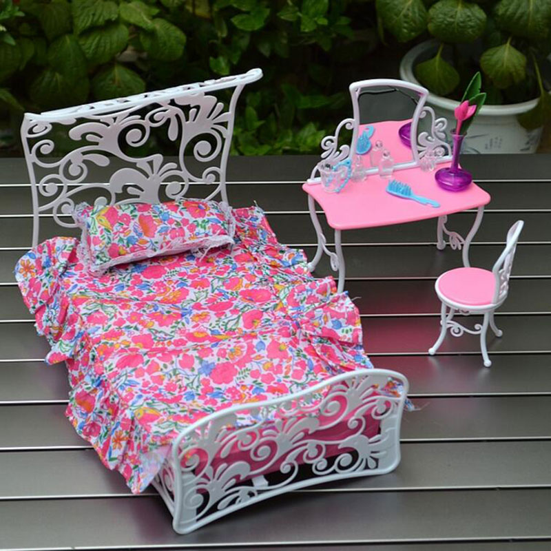 CXZYKING Doll Accessories Furniture Barbie Bed Furniture Princess Bedroom Dresser Chair For Girl Mini Toy beiens furniture doll 19 pcs children kids baby girl s cute lovely toy fashion makeup chair make up table set dresser