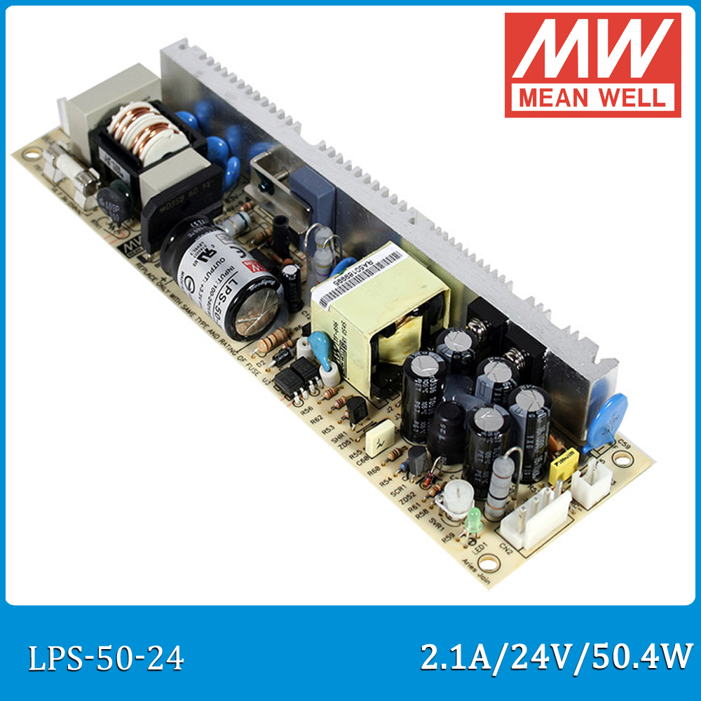 Original MEAN WELL LPS-50-24 single output 24V 2.1A 50.4W open frame Meanwell Power Supply LPS-50 PCB type