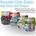 Miababy nb/pequeño pañal aio y bolsillo, carbón de bambú interior con un cosido en insertar, ajuste de la cintura 0-6meses o 6-19lbs bebé.