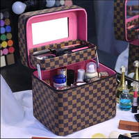 2017 New Women Cosmetic Box Designer High Quality Portable Cosmetic Bag Large Capacity PU Cosmetic Bag