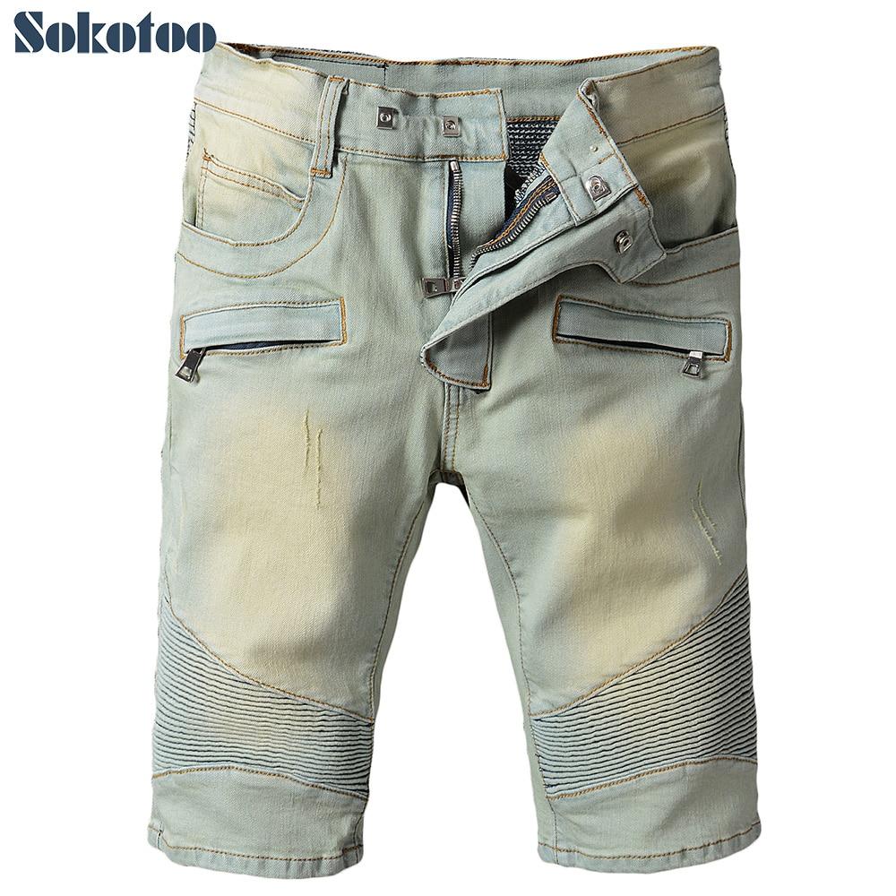 Sokotoo Men's summer vintage knee length stretch denim shorts Casual pleated biker   jeans