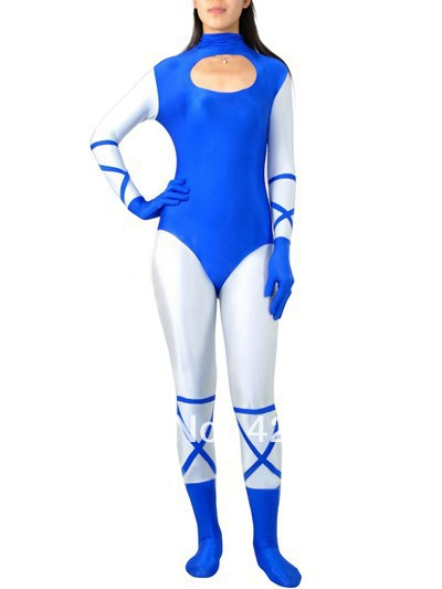 Blue And White Spandex Superhero Costume Halloween Carnival costumes play