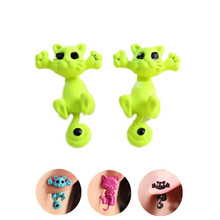 Pameng 12 style Fashion Colourful bijoux 3D Black eye Cute Small Cat Stud Earrings For Girl  Jewelry brincos