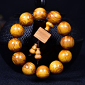 JoursNeige Natural Golden Pomelo Bracelets 15mm/18mm/20mm Beads Wood Bracelets Cross-eye Buddha Bracelet for Men Women Jewelry