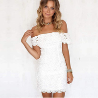 2018 New Fashion Elegant White Wedding Bandage Dress Off Shoulder Bodycon Women Lace Dress Party Casul Outfit Clothing Wholesale