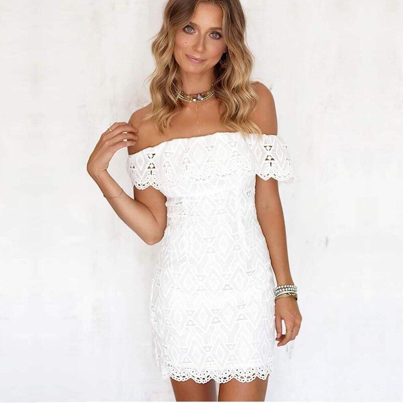 2018 nouvelle mode élégante robe de Bandage de mariage blanc hors épaule moulante femmes dentelle robe partie décontractée tenue vêtements en gros