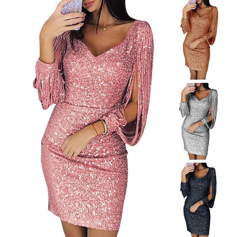 Для женщин; Большие размеры пикантные блестящие пайетки шить кисточкой с длинным рукавом облегающее платье с глубоким v-образным вырезом Ве...