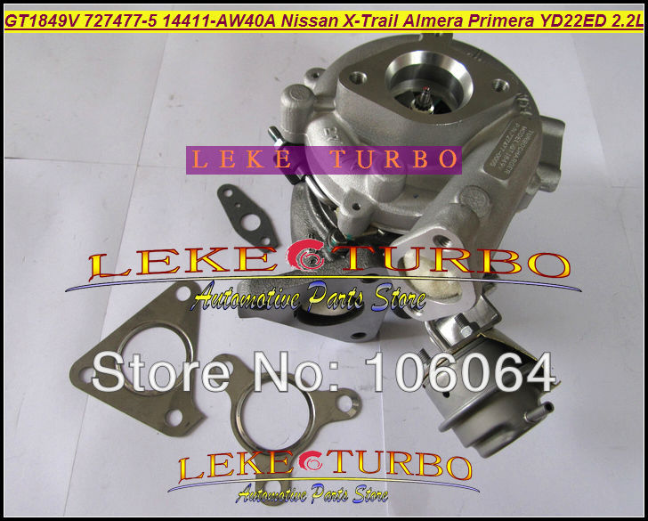 Turbo GT1849V 727477-5006S 727477-5007S 727477 Oil Cooled Turbocharger For NISSAN X-Trail T30 Almera Primera 03- YD22ED YD1 2.2L mathable 5006