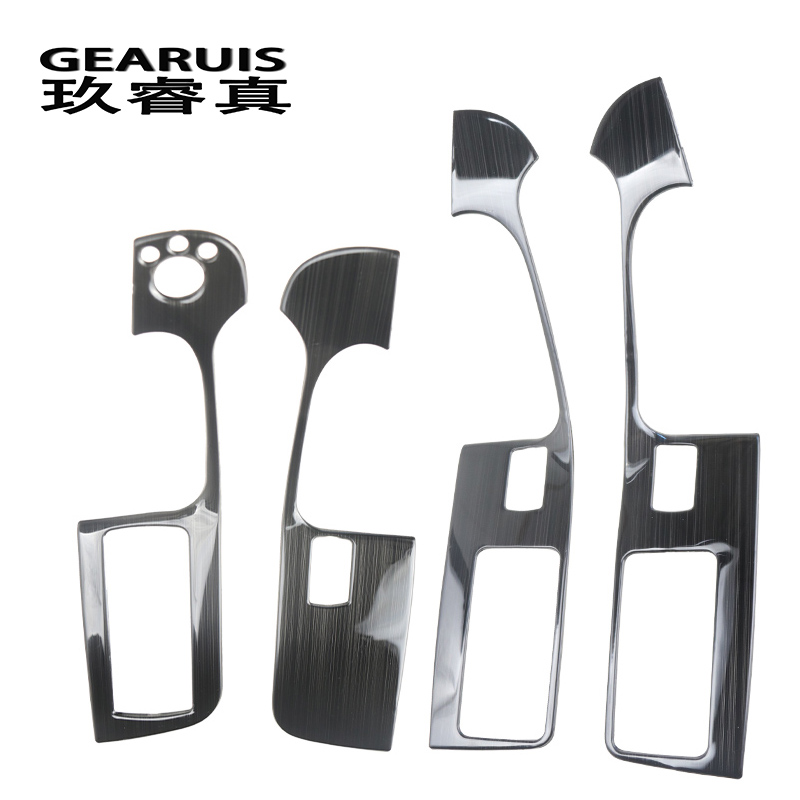 Car Styling Door Armrest Panel Cover Trim For Audi A6 C5 C6 Window Glass Lift Buttons Frame Decal Strip Stainless Steel Stickers