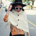 Fashion Winter Poncho Pashmina Scarf High Neck Tasseled Sweater Warm Shawl Women Winter Women's Scarves and stoles WJ8039