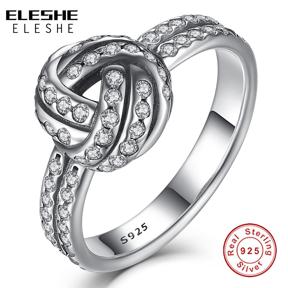 ELESHE Authentic Real 925 Sterling Silver CZ Crystal LOVE KNOT BOW Weave Fingerring For Women Engagement Silver Rings Jewelry