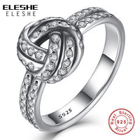Authentic Real 925 Sterling Silver Clear CZ Crystal LOVE KNOT BOW Weave Finger Ring For Women