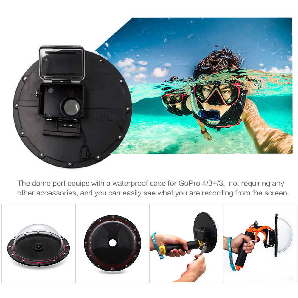 TELESIN 6 Dome Port Underwater Photography For GoPro HD Hero 4 3 Waterproof 30M With Floaty Grip Gopro Action Camera In Sports Camcorder Cases