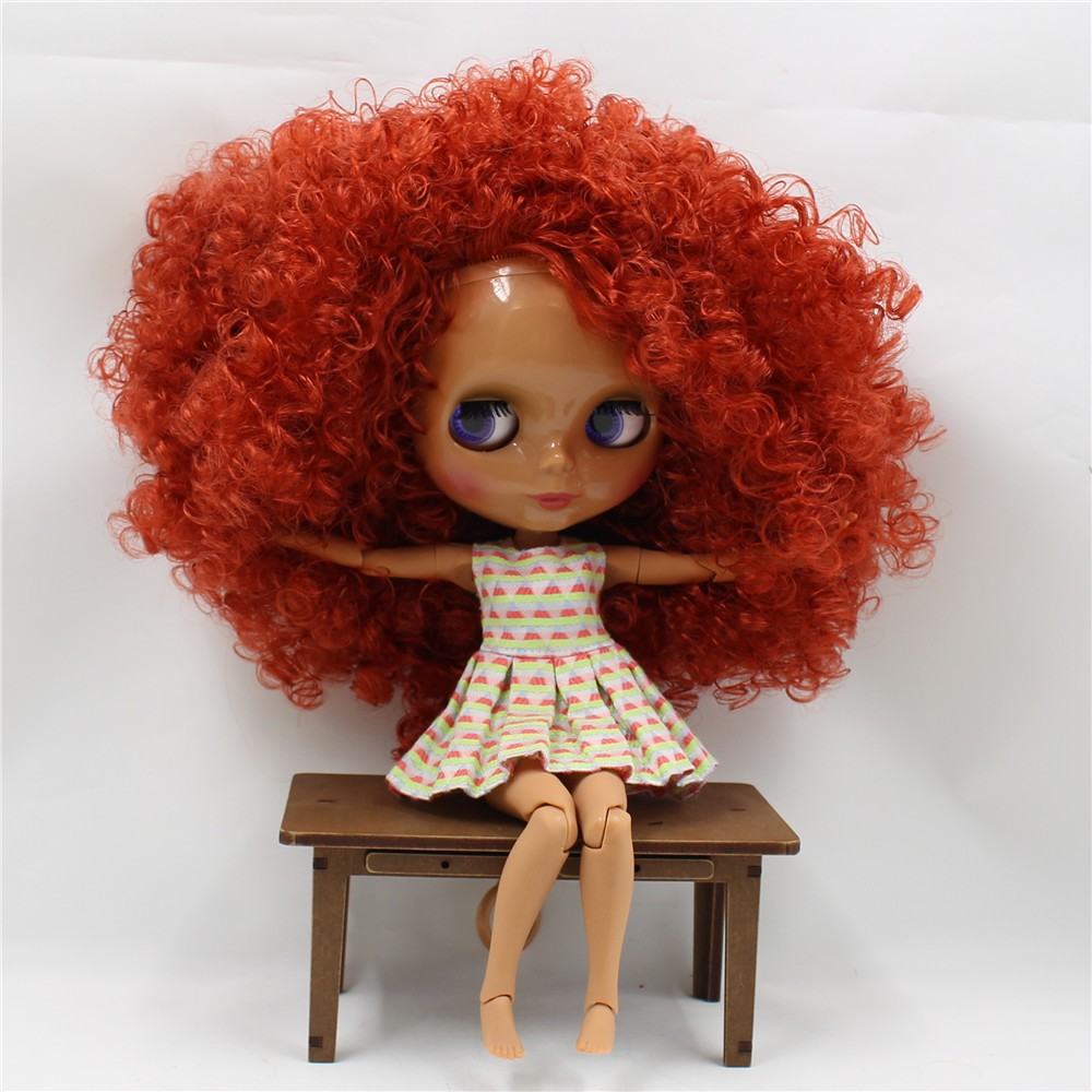 Neo Blythe Doll with Red Hair, Dark Skin, Shiny Face & Jointed Body 2